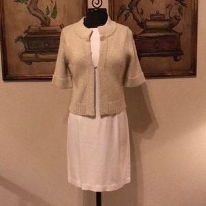 Tommy Bahama silk dress w/ NWT gold Loft sweater